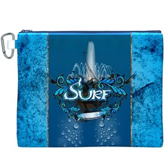 Surf, Surfboard With Water Drops On Blue Background Canvas Cosmetic Bag (XXXL)