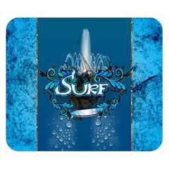 Surf, Surfboard With Water Drops On Blue Background Double Sided Flano Blanket (small)