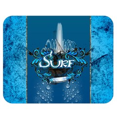 Surf, Surfboard With Water Drops On Blue Background Double Sided Flano Blanket (medium)