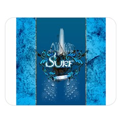Surf, Surfboard With Water Drops On Blue Background Double Sided Flano Blanket (Large)