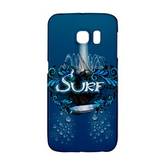 Surf, Surfboard With Water Drops On Blue Background Galaxy S6 Edge