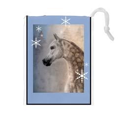 Arabian Horse Winter Snow Drawstring Pouch (XL)