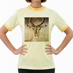 Antelope Horns Women s Fitted Ringer T Shirts