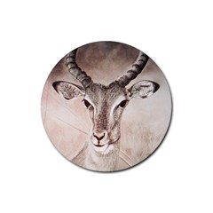 Antelope Horns Rubber Round Coaster (4 Pack)