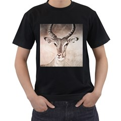 Antelope horns Men s T-Shirt (Black) (Two Sided)