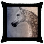 Grey Arabian Horse Throw Pillow Cases (Black) Front