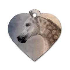 Grey Arabian Horse Dog Tag Heart (Two Sides)