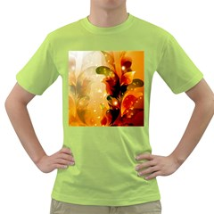Awesome Colorful, Glowing Leaves  Green T Shirt