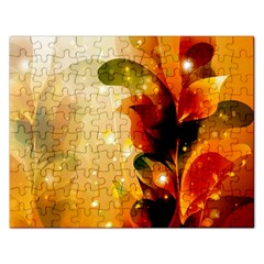 Awesome Colorful, Glowing Leaves  Rectangular Jigsaw Puzzl