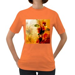 Awesome Colorful, Glowing Leaves  Women s Dark T-Shirt