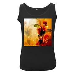 Awesome Colorful, Glowing Leaves  Women s Black Tank Tops