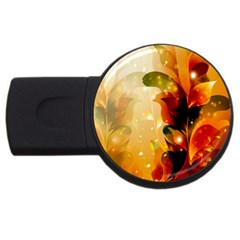 Awesome Colorful, Glowing Leaves  USB Flash Drive Round (4 GB)