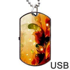 Awesome Colorful, Glowing Leaves  Dog Tag USB Flash (One Side)