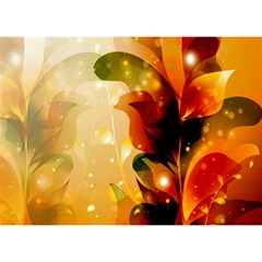 Awesome Colorful, Glowing Leaves  Birthday Cake 3d Greeting Card (7x5)