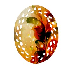 Awesome Colorful, Glowing Leaves  Ornament (Oval Filigree)