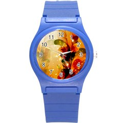 Awesome Colorful, Glowing Leaves  Round Plastic Sport Watch (S)