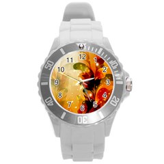 Awesome Colorful, Glowing Leaves  Round Plastic Sport Watch (L)