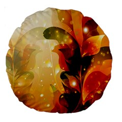 Awesome Colorful, Glowing Leaves  Large 18  Premium Round Cushions