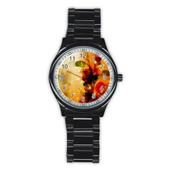 Awesome Colorful, Glowing Leaves  Stainless Steel Round Watches
