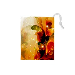 Awesome Colorful, Glowing Leaves  Drawstring Pouches (Small)
