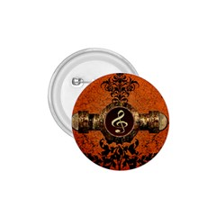 Wonderful Golden Clef On A Button With Floral Elements 1.75  Buttons
