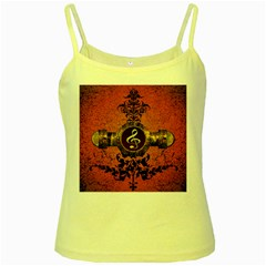 Wonderful Golden Clef On A Button With Floral Elements Yellow Spaghetti Tanks