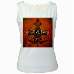 Wonderful Golden Clef On A Button With Floral Elements Women s Tank Tops