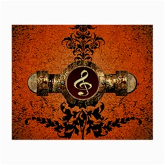 Wonderful Golden Clef On A Button With Floral Elements Small Glasses Cloth
