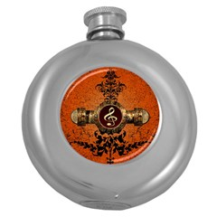 Wonderful Golden Clef On A Button With Floral Elements Round Hip Flask (5 oz)