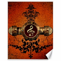 Wonderful Golden Clef On A Button With Floral Elements Canvas 18  x 24