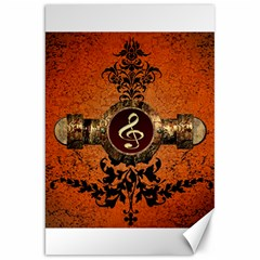 Wonderful Golden Clef On A Button With Floral Elements Canvas 20  x 30