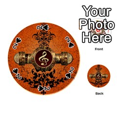 Wonderful Golden Clef On A Button With Floral Elements Playing Cards 54 (round)