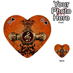Wonderful Golden Clef On A Button With Floral Elements Playing Cards 54 (Heart)