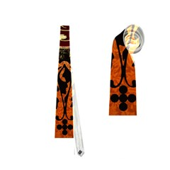 Wonderful Golden Clef On A Button With Floral Elements Neckties (One Side)