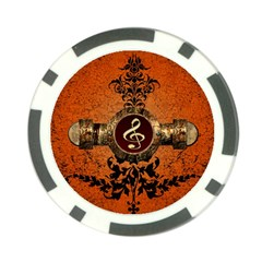 Wonderful Golden Clef On A Button With Floral Elements Poker Chip Card Guards