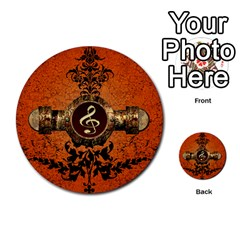 Wonderful Golden Clef On A Button With Floral Elements Multi Purpose Cards (round)