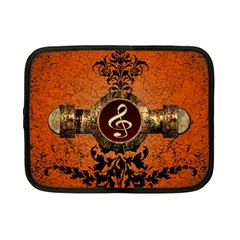 Wonderful Golden Clef On A Button With Floral Elements Netbook Case (Small)