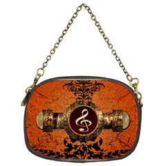 Wonderful Golden Clef On A Button With Floral Elements Chain Purses (One Side)