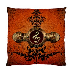 Wonderful Golden Clef On A Button With Floral Elements Standard Cushion Case (One Side)