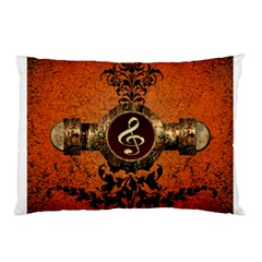 Wonderful Golden Clef On A Button With Floral Elements Pillow Cases