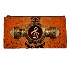 Wonderful Golden Clef On A Button With Floral Elements Pencil Cases