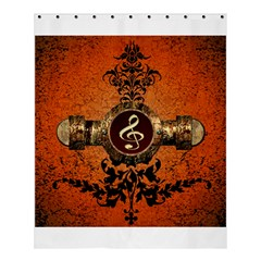 Wonderful Golden Clef On A Button With Floral Elements Shower Curtain 60  X 72  (medium)