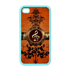 Wonderful Golden Clef On A Button With Floral Elements Apple iPhone 4 Case (Color)