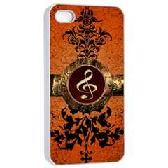 Wonderful Golden Clef On A Button With Floral Elements Apple iPhone 4/4s Seamless Case (White)