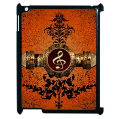 Wonderful Golden Clef On A Button With Floral Elements Apple iPad 2 Case (Black)