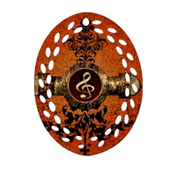Wonderful Golden Clef On A Button With Floral Elements Ornament (oval Filigree)