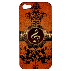 Wonderful Golden Clef On A Button With Floral Elements Apple iPhone 5 Hardshell Case