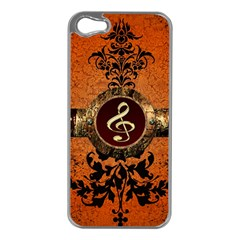 Wonderful Golden Clef On A Button With Floral Elements Apple iPhone 5 Case (Silver)