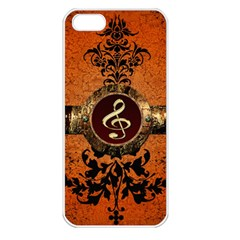 Wonderful Golden Clef On A Button With Floral Elements Apple iPhone 5 Seamless Case (White)