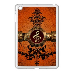 Wonderful Golden Clef On A Button With Floral Elements Apple iPad Mini Case (White)